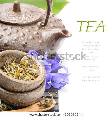 Asian tea set with flowers - stock photo