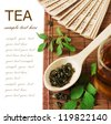 Asian Tea (still life with tea, cup of tea,fan, green leaves and bamboo mat isolated on white background with sample text) - stock photo