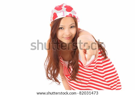 Asian Teen point - stock photo