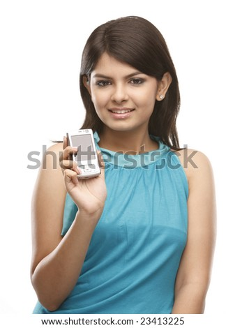 Asian teenage girl with cell phone