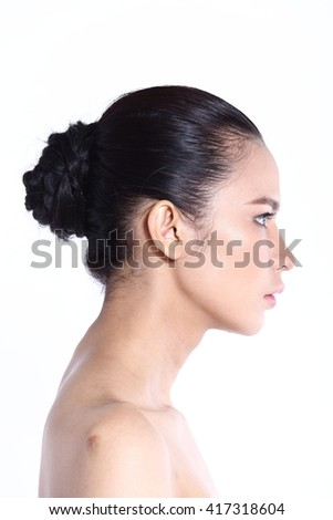 Asian Thai Female Model People with Natural Beauty Clean Look Fashion Make Up style in White background in Studio Lighting, the concept of health, Smile, Strong Face rear side