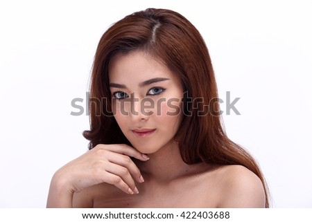 Asian Thai Female Model People with Natural Beauty Clean Look Fashion Make Up style in White background in Studio Lighting, the concept of health, Strong Face, isolated
