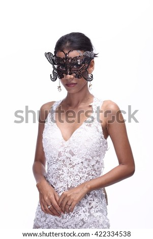 Asian Thai India Female Woman Model Tan Skin in Lace See Through White Wedding Dress with Fur Tiara, Fashion Make Up, Studio Lighting on White Background wearing Black Mask