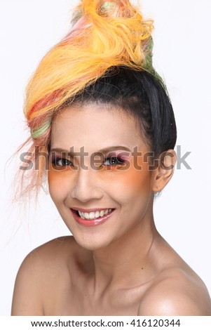 Asian Thai Trans Gender Model People with Orange Hair Fashion Make Up style in White background in Studio Lighting, smile laugh concept