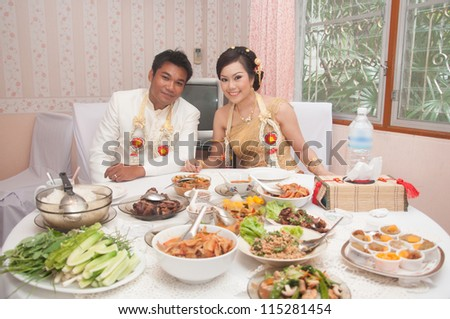 asian thai wedding ceremony couple lunch time