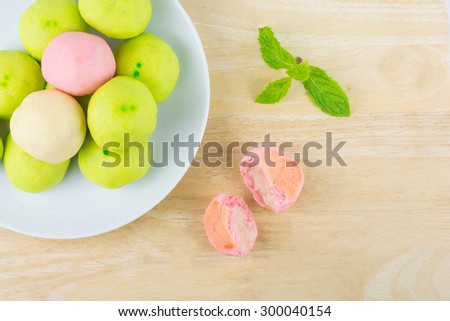 Asian Traditional Dessert, Chinese Cake, Moon Cake, Thai Cake or Chinese Pastry. Filled with Bean Paste and Egg Yolk. Delicious Dessert. - stock photo