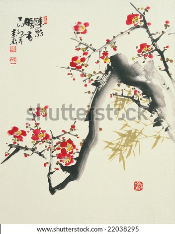 Asian Traditional Painting - stock photo