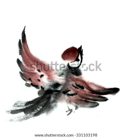 Asian traditional painting sumie, sparrow bird on white background. Japanese, chinese or korean style, watercolor illustration.