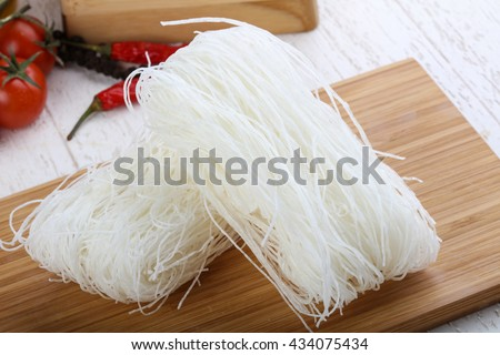Asian vermicelli - Cellophane noodle on wood background