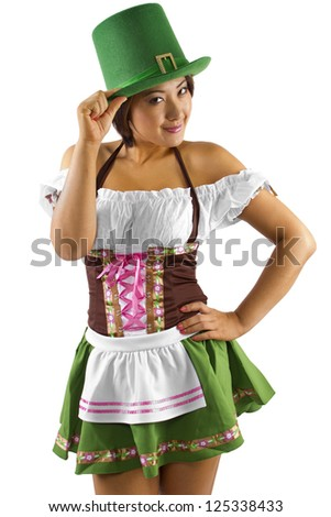 Asian waitress in a St Patricks Day costume