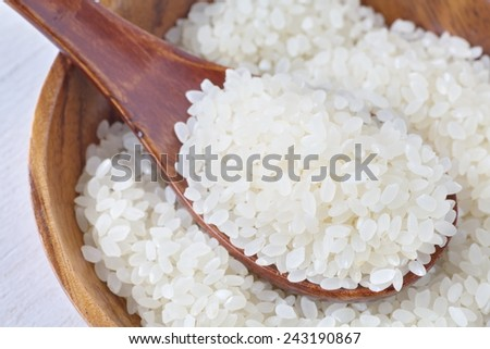 Asian white rice or uncooked white rice