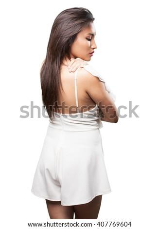 asian woman backward - stock photo