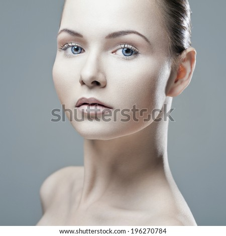 Asian woman beauty face closeup portrait. Beautiful attractive mixed race Thai Asian / Caucasian(German) female model with perfect skin isolated on white background - stock photo