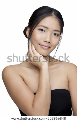 Asian woman beauty face. White background - stock photo