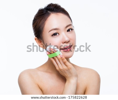 Asian woman beauty shot isolated on white background.  - stock photo