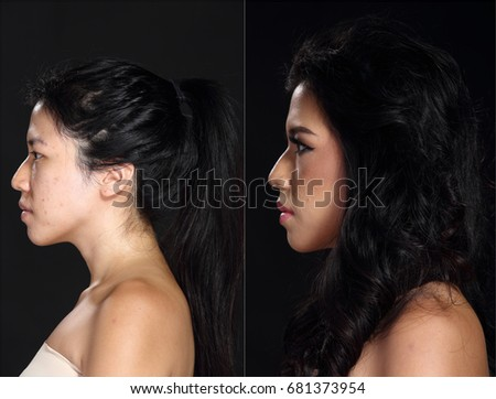 Asian Woman before after make up black hair style. no retouch fresh face with  sc 1 st  Shutterstock & Beautiful Tan Skin Woman T Brown Stock Photo 680691679 - Shutterstock azcodes.com