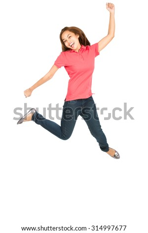 Asian woman celebrating in midair jumping with exaggerated smile, arms legs extended, fist raised showing extreme happiness, ecstatic, overjoyed emotion and laughing