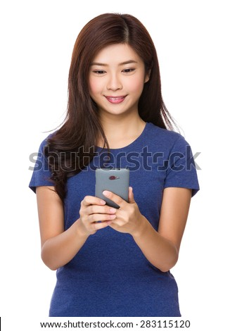 Asian woman check the email message