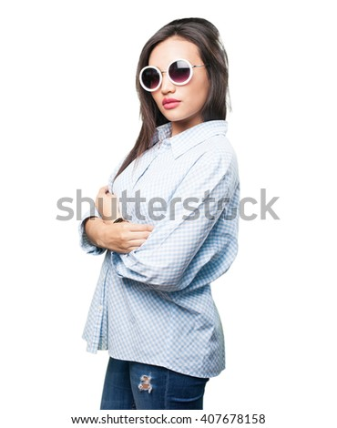 asian woman crossing arms - stock photo