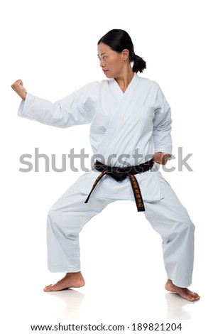 Asian woman demonstrating karate position - stock photo