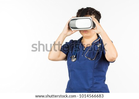 Asian woman doctor in virtual reality glasses. VR headset for glasses. White background. Medicine and health.