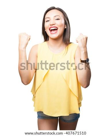 asian woman doing winner gesture - stock photo