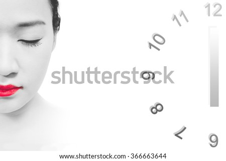 asian woman face & clock, isolated on white. concept = skin ageing changes over time - stock photo