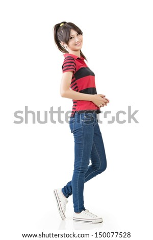 Asian woman, full length portrait isolated on white background. - stock photo