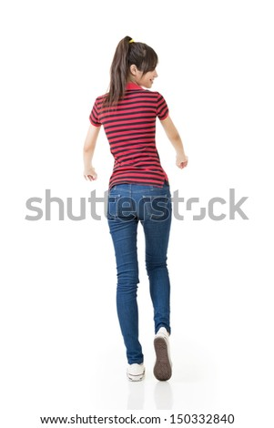 Asian woman, full length portrait isolated on white background, from a back. - stock photo