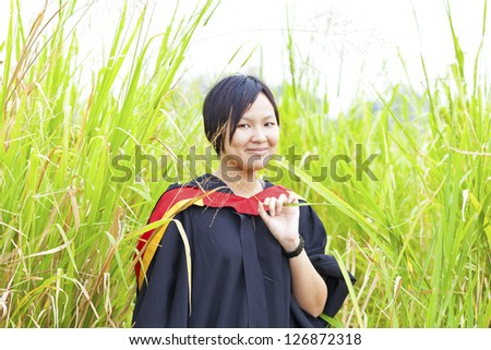 Asian woman graduation - stock photo