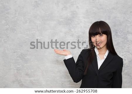 asian woman guide - stock photo