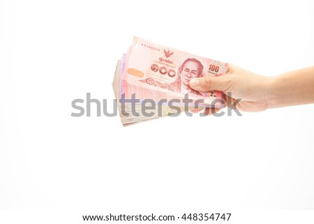 Asian'woman Hand holding thailand banknote on white background isolated