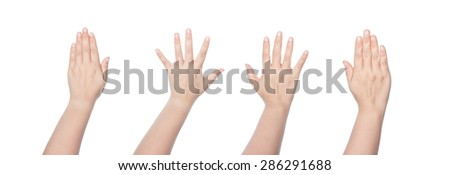 Asian woman hand raise up on white background.