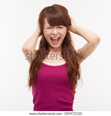 Asian woman having stress isolated on white background. - stock photo