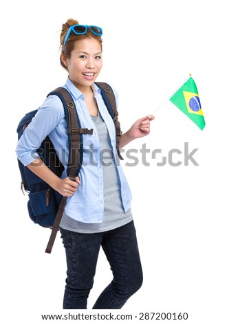 Asian woman hold with Brazil flag
