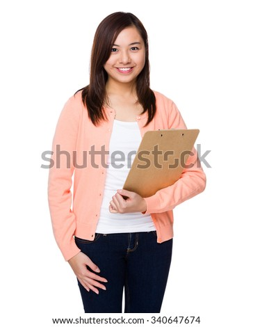 Asian Woman hold with clipboard - stock photo