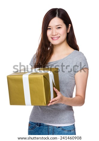 Asian Woman hold with giftbox