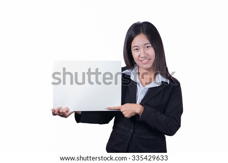 Asian woman holding a blank sign.