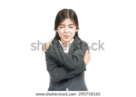 Asian Woman holding hugging herself with blank copy space,Closeup portrait of beautiful Asian woman,Thai girl,Positive human emotion facial expression,isolated on white background - stock photo