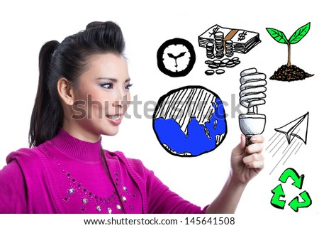 Asian woman holding spiral bulb for show concept save energy - stock photo