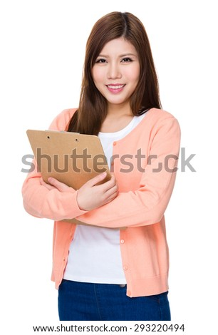 Asian woman holding with clipboard