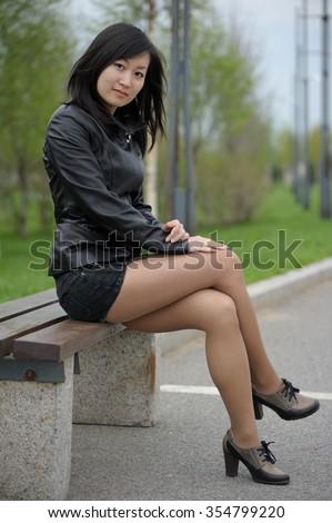 Skirt mini girl Asian in