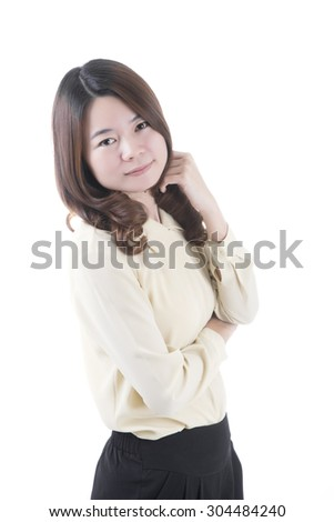 Asian woman in business office concept on white background