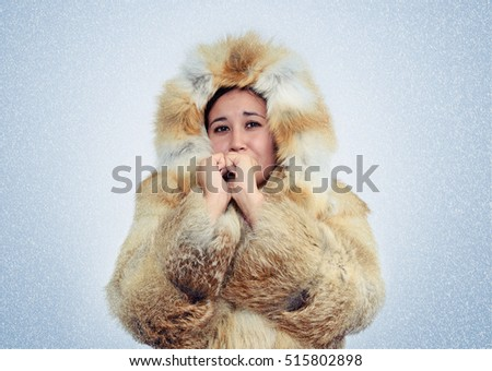 Asian woman in fox fur coat warming hands, cold, snow, blizzard