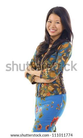 Asian woman in Kebaya, kebaya usually worn by women in Indonesia, Malaysia, Brunei, Burma, Singapore, southern Thailand. - stock photo