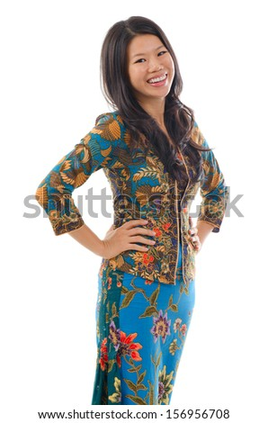 Asian woman in Kebaya, kebaya usually worn by women in Indonesia, Malaysia, Brunei, Burma, Singapore, southern Thailand. - stock photo