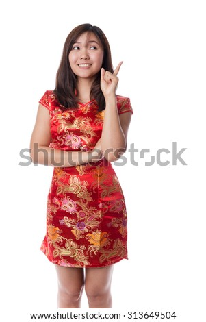 Asian woman in traditional chinese dress,Chinese new year concepts.  - stock photo