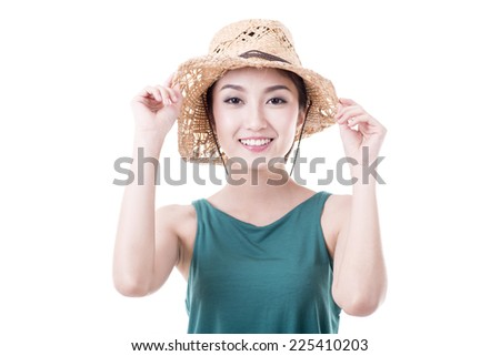 Asian woman isolated on white background.