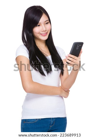Asian woman look at cellphone