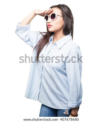 asian woman looking far - stock photo